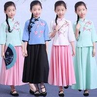 Child Girls Chinese Traditional Costume Tops +skirt Hanfu Costume Anicent National Costume Kids Princess Tang Cosplay Clothing 9