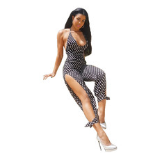 2019 Fashion Hot Sexy Ladies overalls Women Dot print Clubwear Party elegant jumpsuit summer Romper Sleeveless Long Trousers