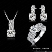 bridal Jewelry sets 925 sterling silver Arrival Wedding Jewelry Set Platinum Plt Crubic Zircon Necklace/Earring/Ring Set Choose(China)