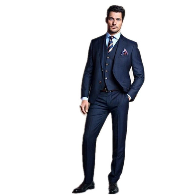 Fashion Design wedding suits groom tuxedo best man blue prom suits ...