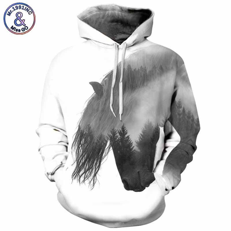 Mr.1991INC 2018 new Fashion horse printing 3d Sweatshirts Men/womens hoodie sweatshirt casual Hooded Pullovers Men Hoodies M300