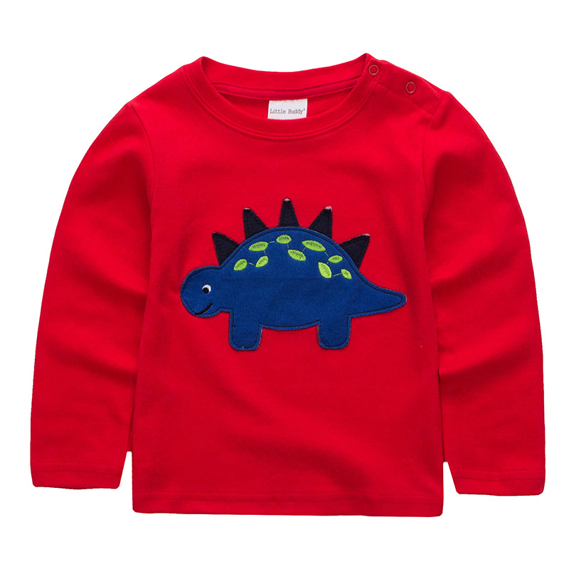Spring Autumn 2019 New Cotton Long Sleeve Children Toddler Tops T Shirt Kids Boys <font><b>Tshirt</b></font> <font><b>Dinosaur</b></font> Clothes Red 18m-6t image