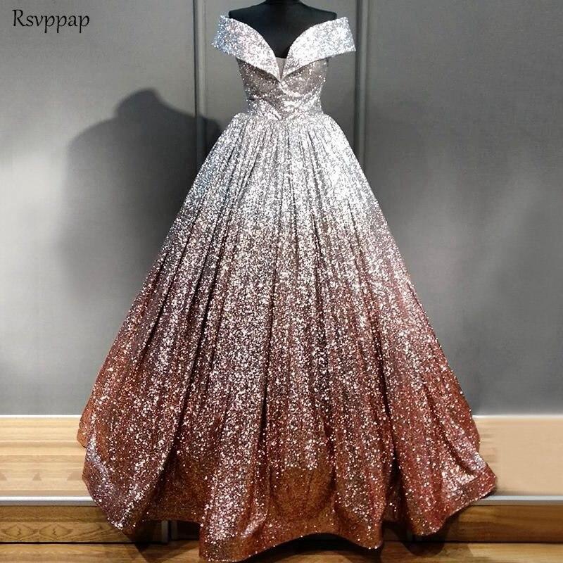 Long Sparkly   Evening     Dress   2019 Ball Gown Cap Sleeve Glitter Arabic Style abendkleider Women Formal   Evening   Gowns