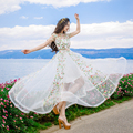 2016 New Summer Women's Dress Hot Sell High Quality Elegance Fashion Embroidery Fairy Lomg Dress