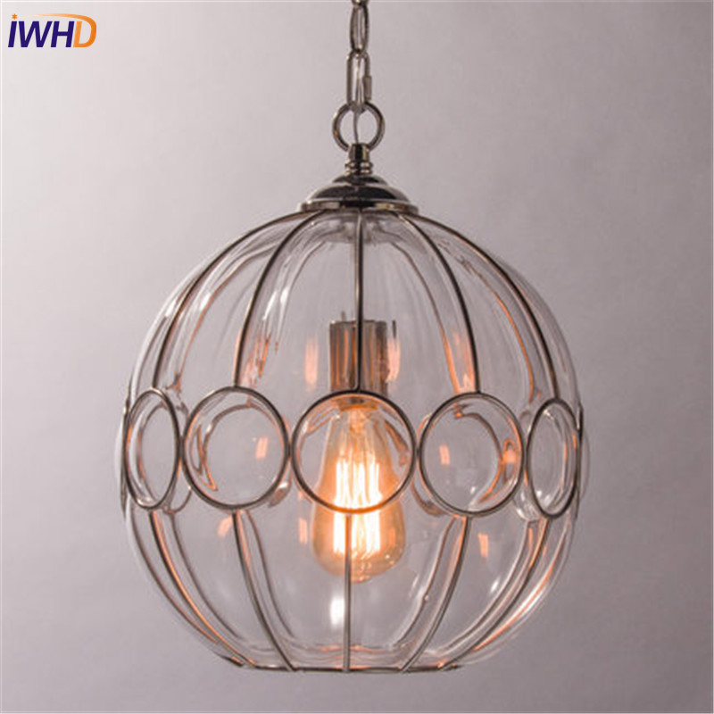 IWHD Loft Style Round Glass Edison Pendant Light Fixtures Iron Vintage Industrial Lighting For Dining Room Home Hanging Lamp loft style iron retro edison pendant light fixtures vintage industrial lighting for dining room hanging lamp lamparas colgantes