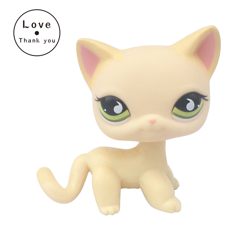 pet shop toys standing short Hair Cat #733 Yellow kitty free shipping lps pet shop toys rare black little cat blue eyes animal models patrulla canina action figures kids toys gift cat free shipping