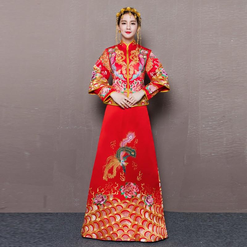 da7e5488d Mariée Cheongsam Vintage Style chinois robe de mariée rétro Toast vêtements  dame broderie Phoenix robe de mariage Qipao vêtements rouges ~ Hot Deal  June ...