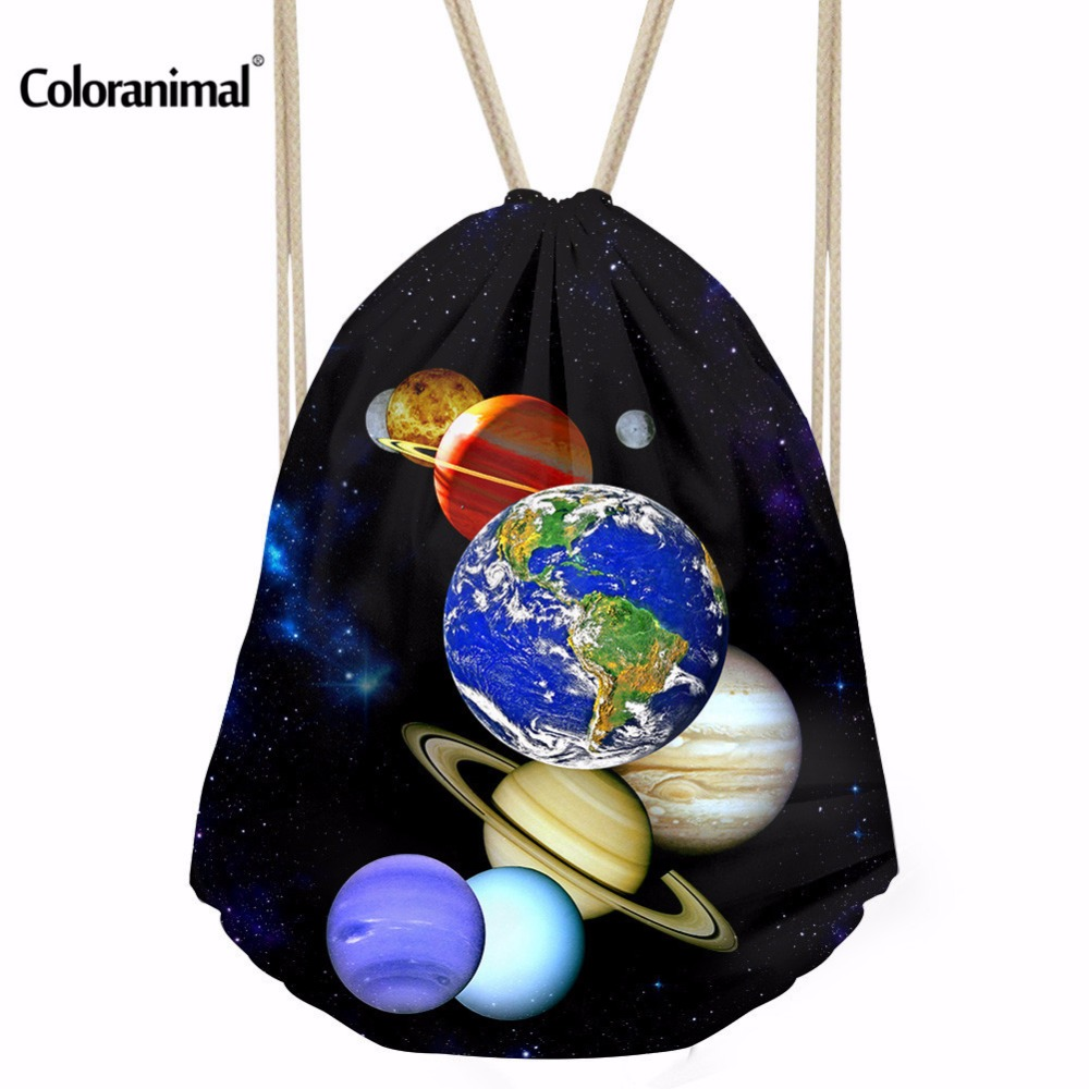 Coloranimal 3D Planet Print Mini Backpack Women Mochila Storage Bags Fashion School Bags For Teenagers Sac A Dos Drawstring Bag