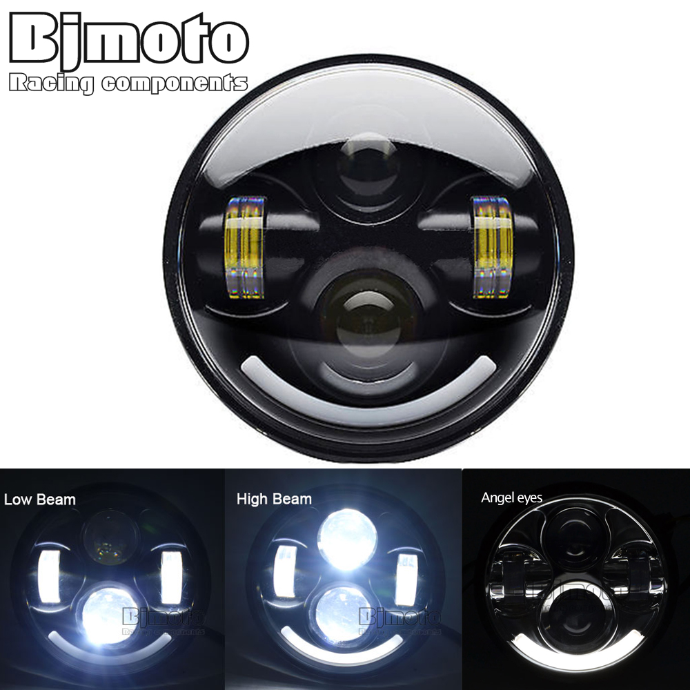 BJMOTO 5 3/4 Motorcycle LED Headlight with Halo Angel Eye DRL LED Headlamp For Harley Sportster Iron 883 1200 Dyna Street Bob
