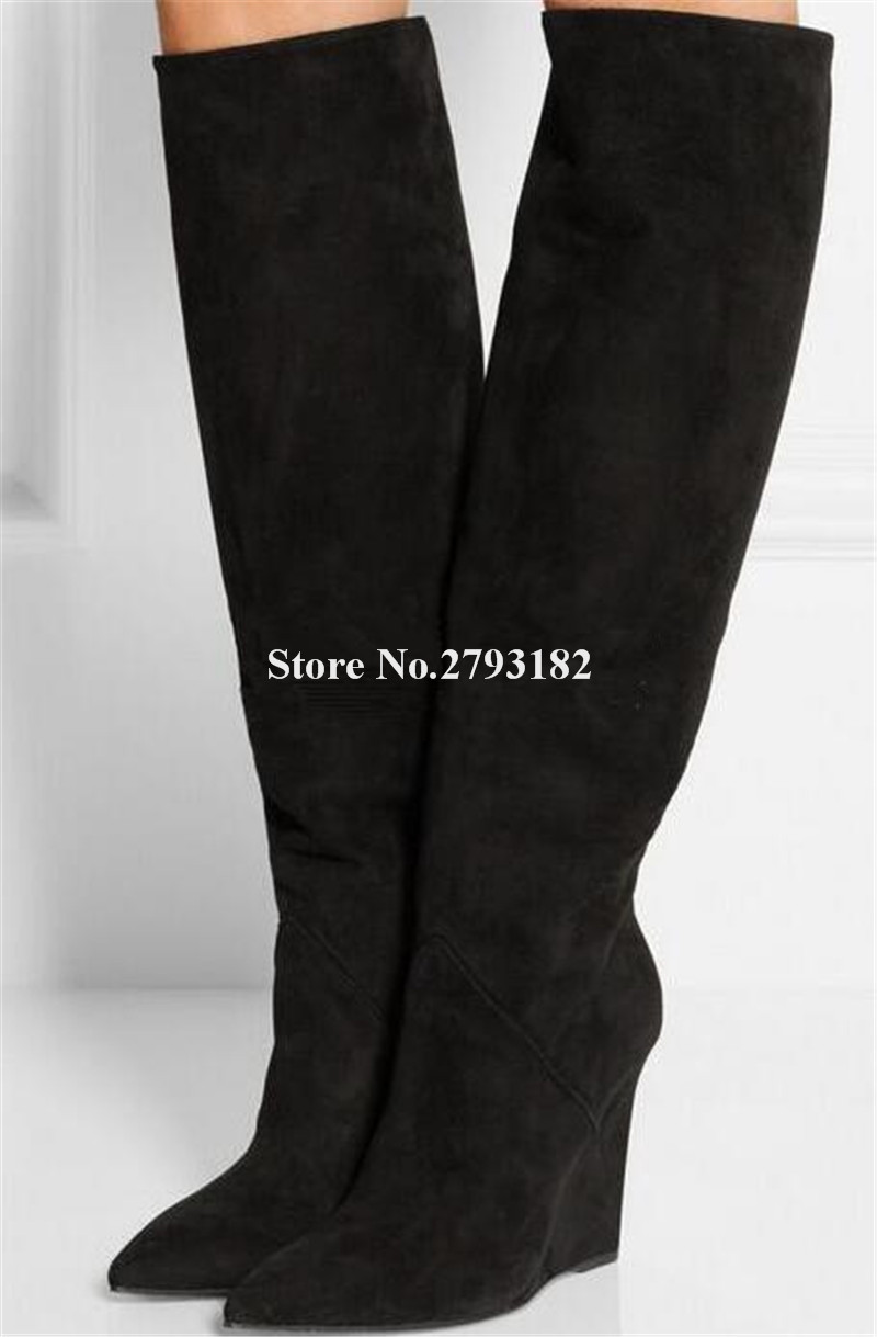 Brand Style Women Fashion Pointed Toe Suede Leather Knee High Wedge Boots High Quality Winter Women Long Wedge BootsBrand Style Women Fashion Pointed Toe Suede Leather Knee High Wedge Boots High Quality Winter Women Long Wedge Boots