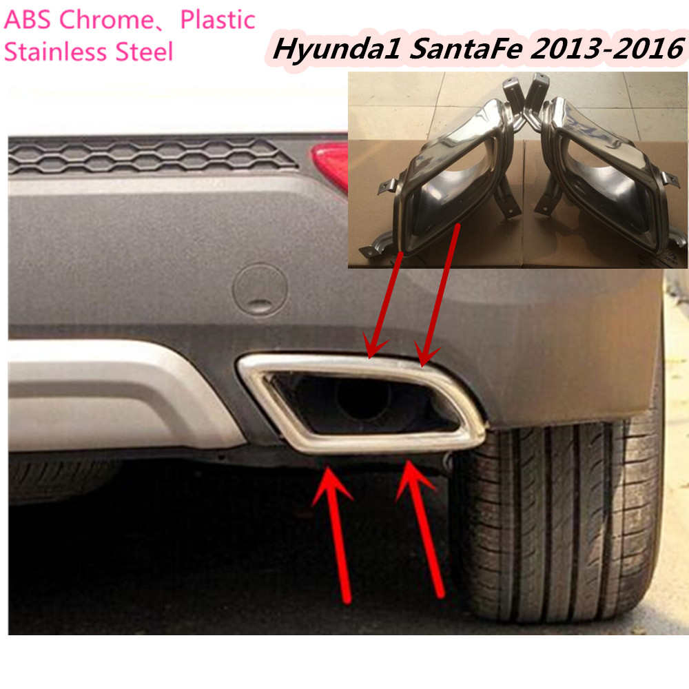 Car styling cover muffler end tail pipe dedicate stainless steel exhaust tip 2pcs for Hyundai SantaFe IX45 2013 2014 2015 2016 stainless steel dual exhaust muffler tip tail pipe for bmw f30 320i 316i car styling