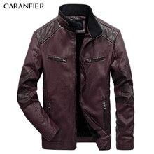 CARANFIER 2017 Leather Jacket Men Winter Fashion High Quality PU Casual Biker Jacket Pilot Leather Jacke Male Coat Coste
