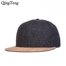 f22b5ca0939 Woolen Hat Hip Hop Street Adjustable Bone Wood Grain Brim Fashion Hat Boy  Snapback Men Women