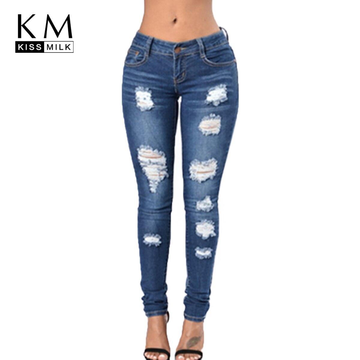 kissmilk 2018 autumn solid blue women jeans hole bleached. Black Bedroom Furniture Sets. Home Design Ideas