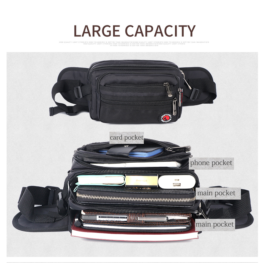 Image 4 - Waist Pack Casual Functional Fashion Men Waterproof Fanny Pack Women Belt Bum Bag Male Phone Wallet Pouch Bags Unisex 98011-in Waist Packs from Luggage & Bags