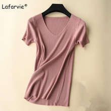 Lafarvie Slim V-neck Knitted Sweater Women Summer Short Sleeve Solid Color Soft Comfortable Female Pullover Casual Knit jumper solid ribbed knit roll neck jumper