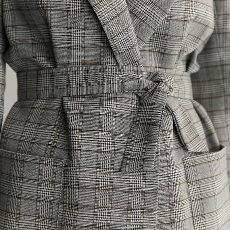 Làm Việc Casual Nữ Kẻ Sọc Màu Xám Office Lady Blazer Áo Khoác Thời Trang Bow Sash Chia Tay Áo Femme Thanh Lịch Blazers với Vành Đai Feminino