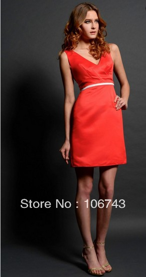 free shipping elegant dress hot 2016 bridal gowns brides celebrity style new vestidos formales short satin red evening gowns in Evening Dresses from Weddings Events