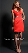 free shipping elegant dress hot 2013 bridal gowns brides celebrity style new vestidos formales short satin red evening