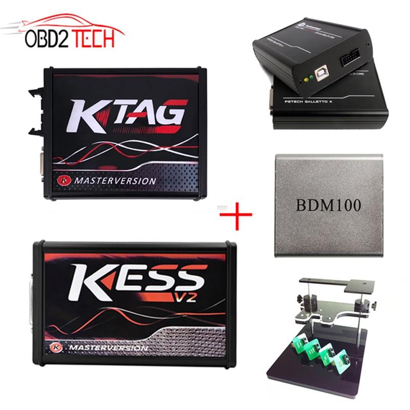 On-line PCB Rosso ECU Programmatore KTAG V7.020 V2.34 + FG TECH Galletto 4 Master V54 + V2.47 KESS V5.017 + BDM FRAME + BDM100 5 in 1