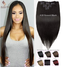 Body Wave  Clip In Human Hair Extensions 1B Color Brazilian Virgin Hair Clip In Extension 7&10 pcs Clip In Human Hair Extension