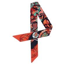 Female Skinny Scarf Print Silk Hair Small Ribbon Women Handbag Tie Scarfs Designer Head Band Neckerchief