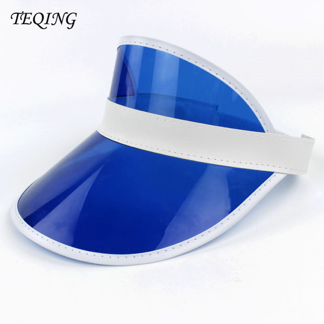 TEQING 48pcs lot Sun hats Neon Sun Visor Peak Cap Clear Plastic Sunvisor  Party Hat 18ffcfbd1c8a