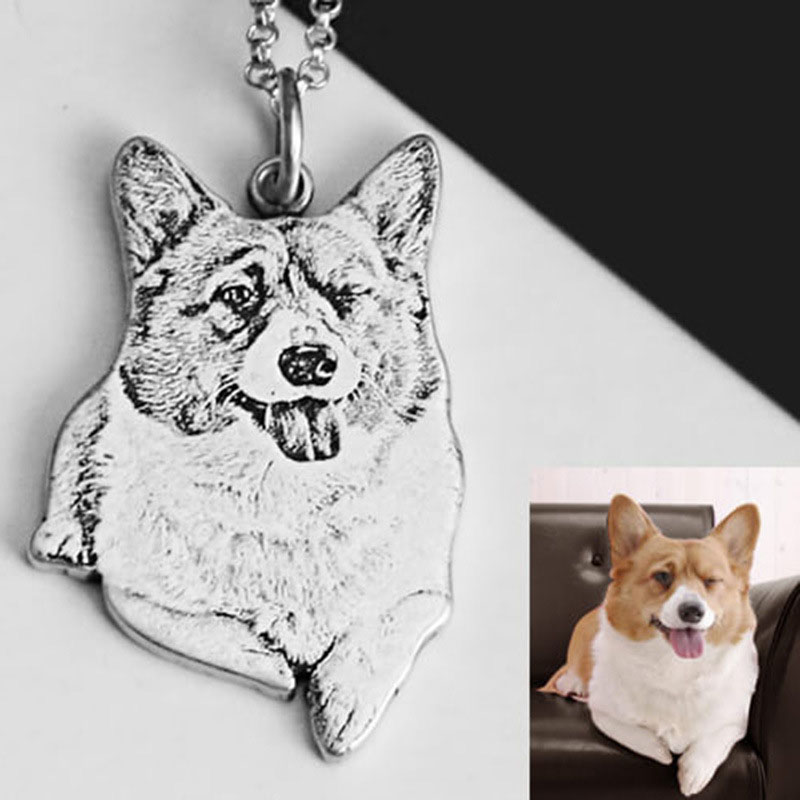 S925 sterling silver pet photo custom personality DIY cat dog pendant necklace to give friends the