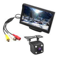 New 5 Inch Car Monitor Backup Reverse Display Monitor LCD TFT Screen 2 Video Input With Car Rear View Camera