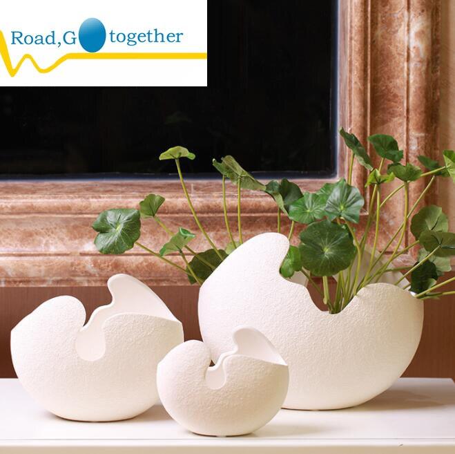 Яичной скорлупы ваза, Nordic украшения, домашнего интерьера, керамическая ваза, из трех частей