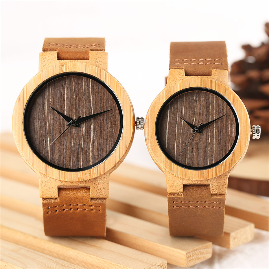 Top Brand Wooden Bamboo Couple Watch Analog Quartz Women Men Creative Watches for Lovers 100 Nature
