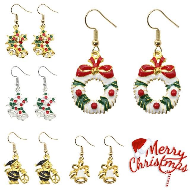 Trendy Christmas Earrings Bells Wreath Drop For Women S Enamel Female Xmas Earings