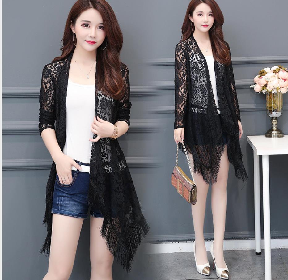 2019 Fashion Sexy Tassel Lace Cardigan   basic     Jacket   Summer Cardigan   Jacket   Fashion Irregular Shawl   Jacket   192019