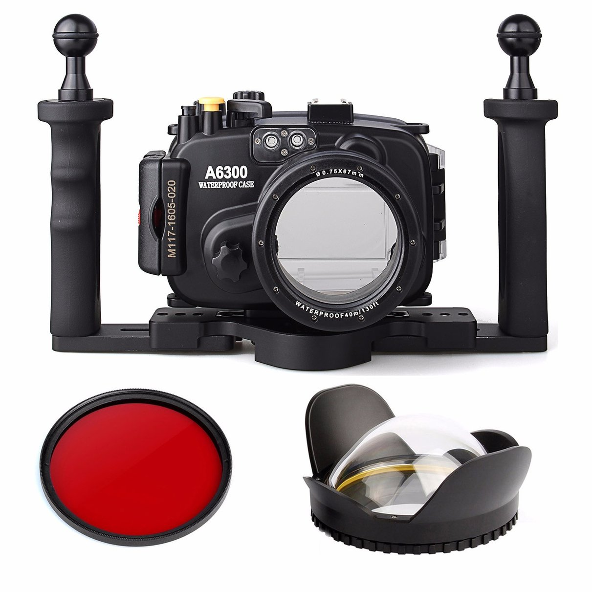 40m/130ft Waterproof Underwater Camera Housing Case for A6300 16-50mm Lens + Tray + Red Filter + 67mm Round Fisheye