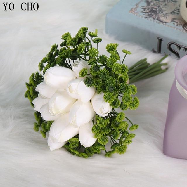 Mini Tulip Head Silk Artificial Lily Wedding Flower Bridal Bouquet Home Vase Decor Green