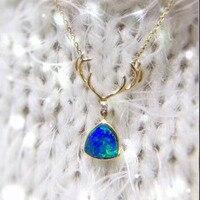 ANI с металлическим ремешком регулируемой длины из 18 ти кратного желтого золота (AU750) Свадебная подвеска, ожерелье натуральный опал сертифика