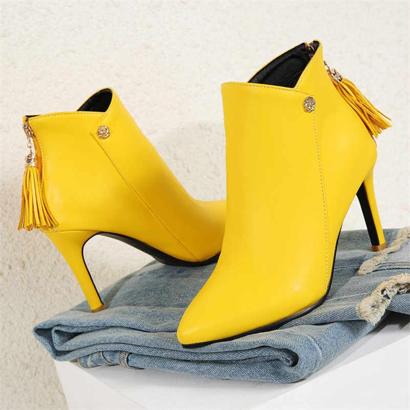 Meotina/женские ботинки зимние ботильоны короткие ботинки на шпильке с бахромой обувь на очень высоком каблуке на молнии Женская Осенняя обувь, большие размеры 3-12