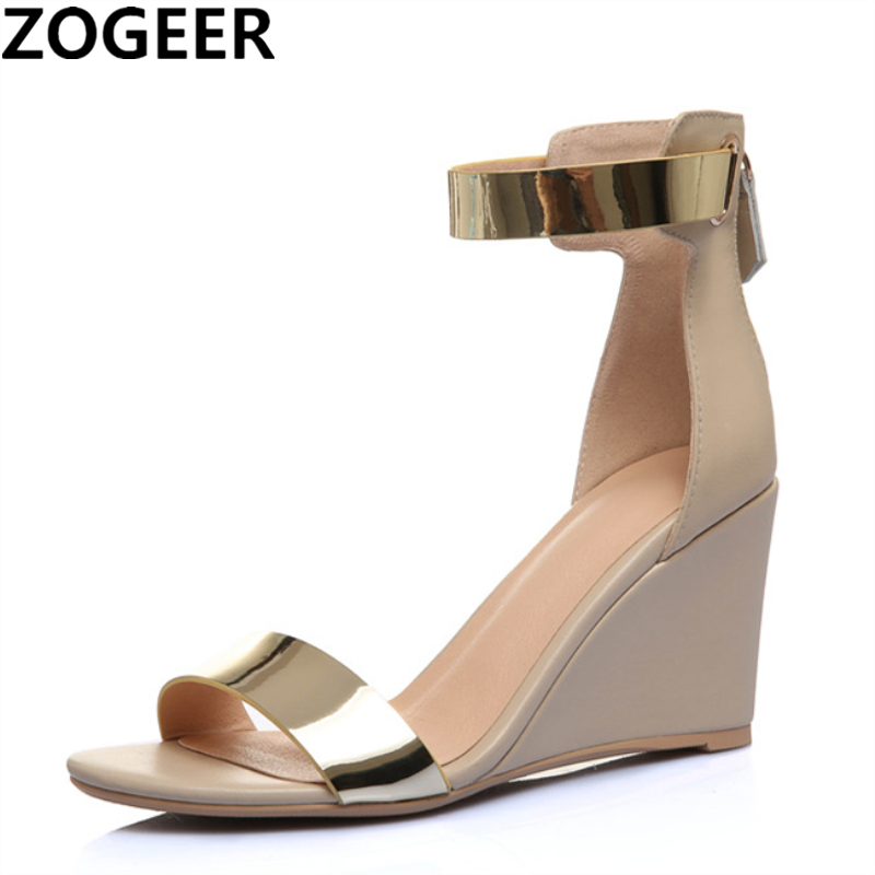 Summer Genuine Leather Women Sandals Open Toe Wedges High Heels Sandals Women Ankle Strap Sheepskin Concise
