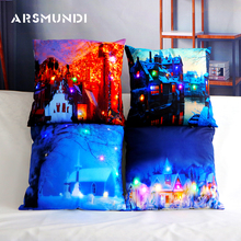 Led Merry Christmas Lantern Cushion Cover polyester woven Printed landscape decorative pillowcase peaceful winter pillow case