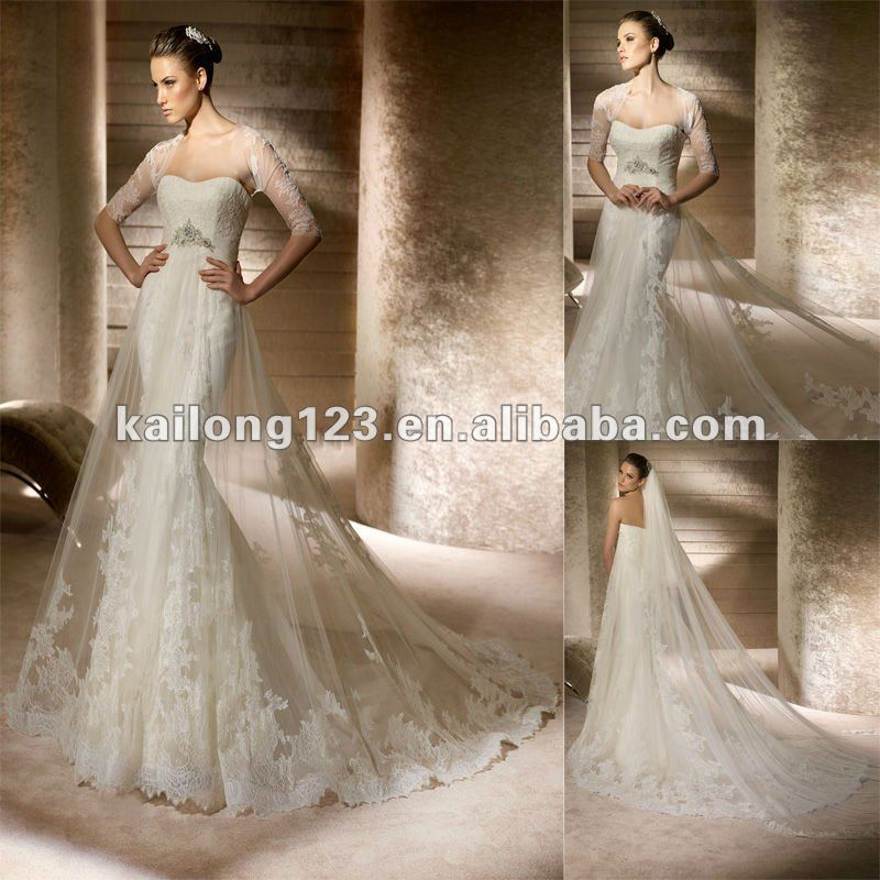 Buy strapless mermaid with sheer overlay for Lace wedding dress overlay