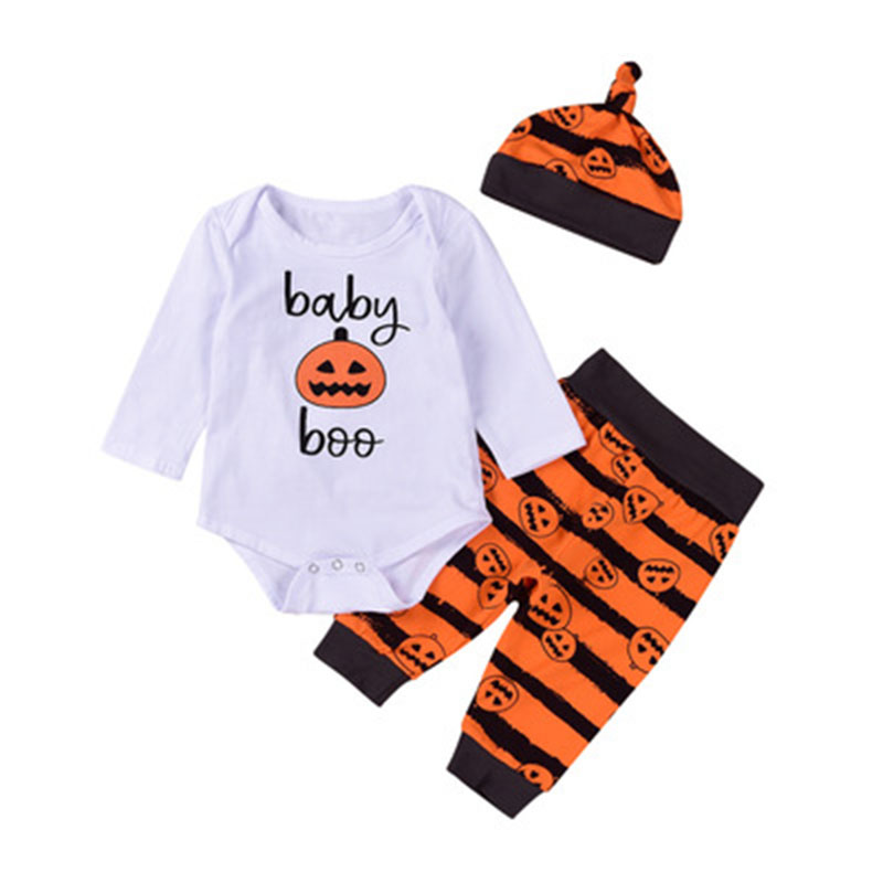 Baby Boy Jumpsuit Pumpkin Halloween Clothing Set Long Sleeve Baby Boo Romper Stripe Long Pants +Hat Outfits Toddler Girl Suit