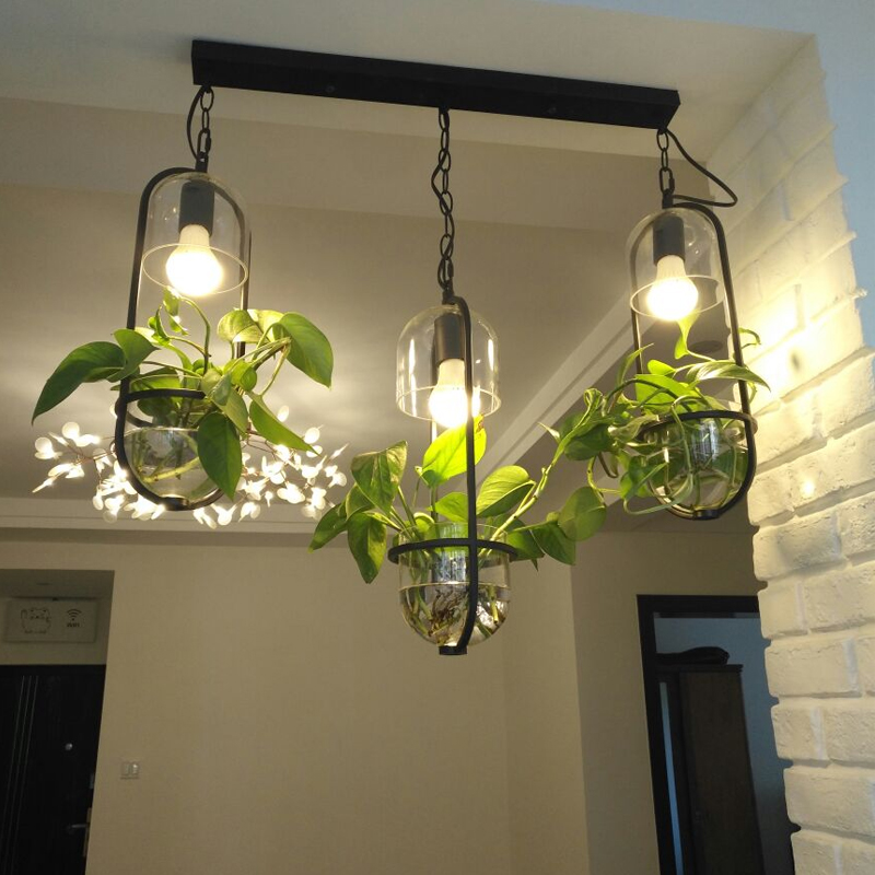 Nordic Plant hanging light Bar Vintage Lamp Restaurant E27 Lights Creative Potted Porch Porch Glass pendant lamps Luminaire runail кисть gel gmf 6