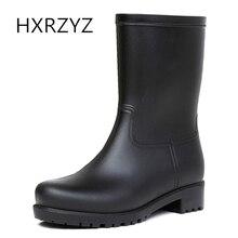 Женщины HXRZYZ черные сапоги дождя женские резиновые ботинки лодыжки весна и осень новая мода ПВХ Slip-Resistant водонепроницаемые женские туфли
