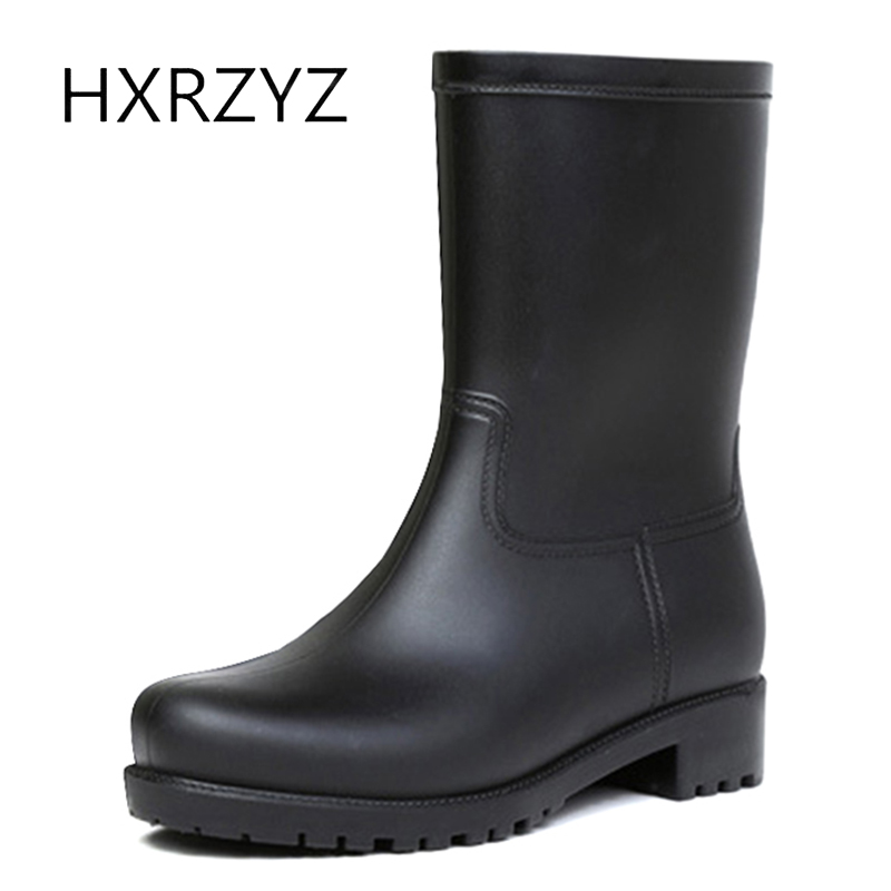 HXRZYZ women black rain boots female rubber ankle boots spring and autumn new fashion PVC Slip-Resistant waterproof women shoes hxrzyz women rain boots spring autumn female ankle boots ladies fashion high top blue and red non slip waterproof women shoes