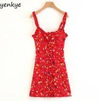 Vintage Summer Dress 2018 Sweet Women Red Floral Printed Sling Dress Sexy Sleeveless Mini Dress LJPZ8635