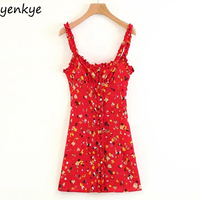 Vintage Summer Dress 2018 Sweet Women Red Floral Printed Sling Dress Sexy Sleeveless Mini Dress LJPZ8635