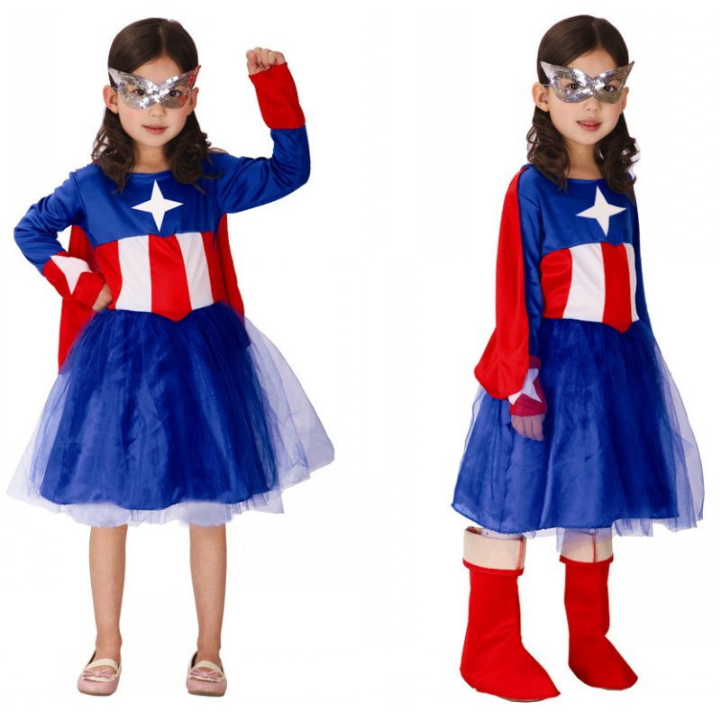 2017 New Halloween Costumes Children Kids Superhero Captain America Cosplay Costumes Long Sleeve Girls party dress Clothing Set girls boys halloween costumes surgeon sets doctor cosplay stage wear clothing children kids party clothes free drop shipping new