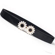 Женский модный винтажный эластичный цветок пояс черный женский пояс широкий пояс для платья и рубашки украшение 3009