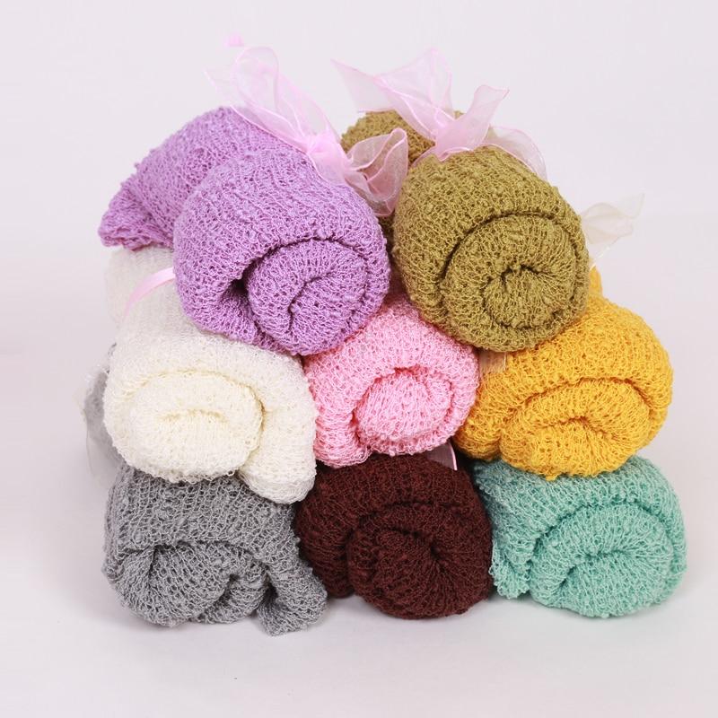 Baby Photography Props Blanket Rayon Stretch Knit Blanket Swaddling Newborn Hammock Swaddlings Padding Nubble Blanket