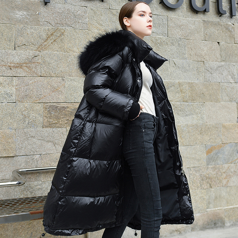 2019 Winter   Coat   Women Long   Down   Jacket Female Hooded   Coat   Warm Women Parkas Duck   Down   Jacket Women   Coat   Real Raccoon Fur Collar